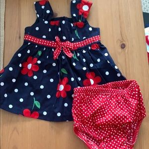 Size 3-6 months adorable dress with diaper cover